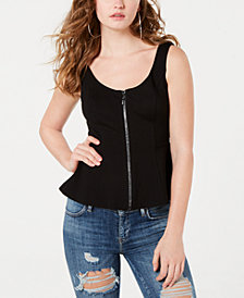 GUESS Mira Embellished Zip-Front Top