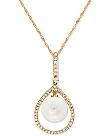 "White Cultured Freshwater Pearl (9mm) & Diamond (1/5 ct. t.w.) 18"" Pendant Necklace in 14k Gold"