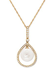 "Honora White Cultured Freshwater Pearl (9mm) & Diamond (1/5 ct. t.w.) 18"" Pendant Necklace in 14k Gold"