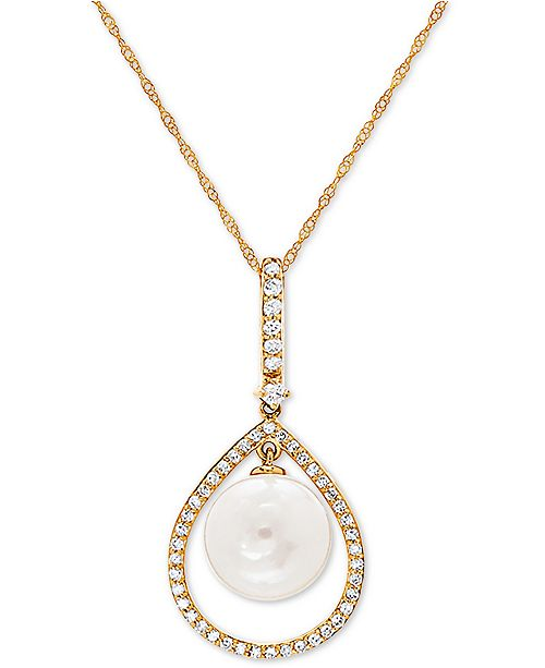 """Honora White Cultured Freshwater Pearl (9mm) & Diamond (1/5 ct. t.w.) 18"""" Pendant Necklace in 14k Gold"""