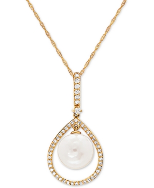 """White Cultured Freshwater Pearl (9mm) & Diamond (1/5 ct. t.w.) 18"""" Pendant Necklace in 14k Gold"""