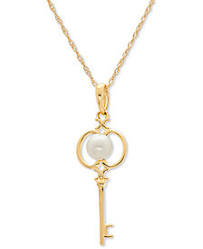 "White Cultured Freshwater Pearl (4mm) Key 18"" Pendant Necklace in 14k Gold"