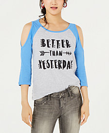 Love Tribe Juniors' Cold-Shoulder Printed Baseball T-Shirt