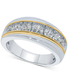 Men's Diamond Two-Tone Ring (1-1/2 ct. t.w.) in Sterling Silver & 10k Gold-Plate