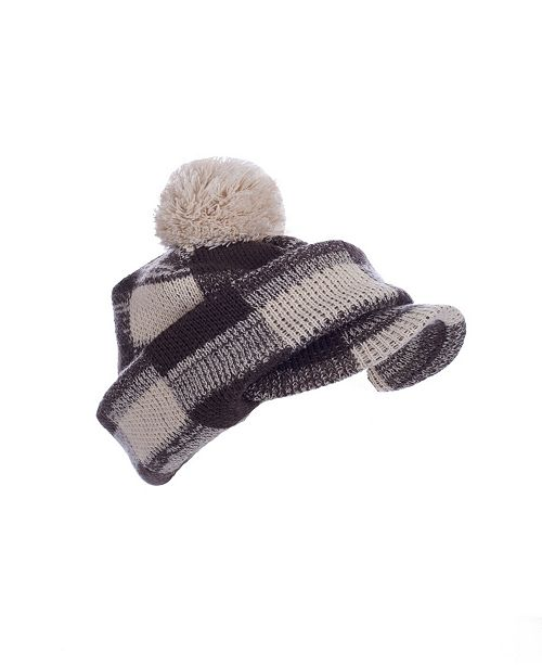 MinxNY Brown Checkered Pom Hat With Neck & Face Guard