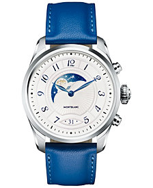 Montblanc Women's Swiss Summit 2 Sapphire Blue Leather Strap Touchscreen Smart Watch 42mm, Created for Macy's