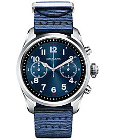 Montblanc Men's Swiss Summit 2 Blue Nylon Strap Touchscreen Smart Watch 42mm, Created for Macy's