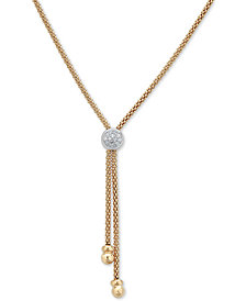 "Diamond Two-Tone Lariat Necklace (1/8 ct. t.w.) in 14k Gold-Plated Sterling Silver, 20"" + 3"" extender"