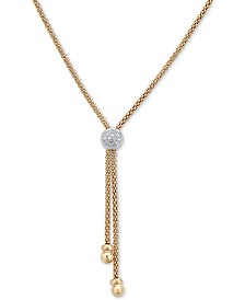 """Diamond Two-Tone Lariat Necklace (1/8 ct. t.w.) in 14k Gold-Plated Sterling Silver, 20"""" + 3"""" extender"""