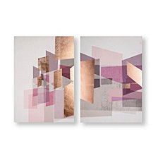 Graham & Brown Rose Gold Geos Printed Canvas, Set of 2
