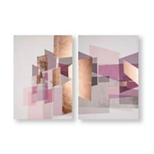 Graham & Brown Rose Gold Geos Printed Canvas, Set of 2