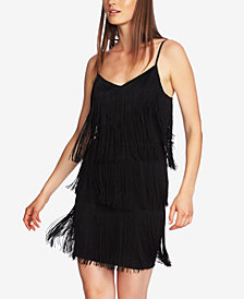 1.STATE Fringe Adjustable-Strap Dress