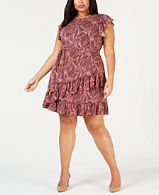 MICHAEL Michael Kors Plus Size Swirling Waves Belted Dress