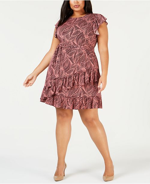 14bac2ea7a2 Michael Kors Plus Size Swirling Waves Belted Dress - Dresses - Plus ...