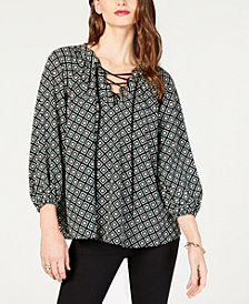 MICHAEL Michael Kors Lace-Up Printed Peasant Top