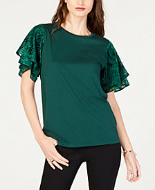 MICHAEL Michael Kors Tiered Jacquard-Sleeve Top, in Regular and Petite Sizes