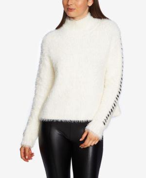 Whipstitched-Sleeve Eyelash Sweater in Antique White