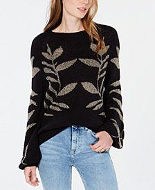 Lucky Brand Metallic Leaf-Pattern Sweater