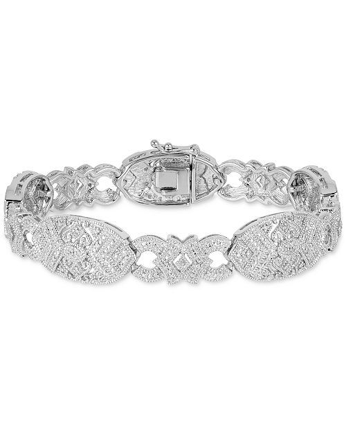 Macy's Diamond Openwork Link Bracelet (1/4 ct. t.w.) in Sterling Silver