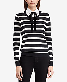 Lauren Ralph Lauren Layered-Look Tie-Neck Striped Sweater