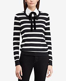 Lauren Ralph Lauren Layered-Look Tie-Neck Striped Sweater