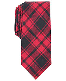 Bar III Men's Seabury Skinny Plaid Tie, Created for Macy's