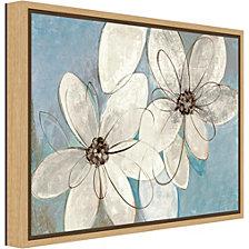 Amanti Art Blue and Neutral Floral by Silvia Vassileva Canvas Framed Art