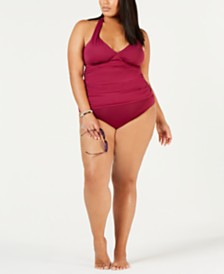 Lauren Ralph Lauren Plus Size Shirred Halter-Top Tankini & Solid Hipster Bikini Bottoms