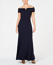 Calvin Klein Embellished Off-The-Shoulder Gown