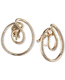 Carolee Gold-Tone Pavé Swirl Clip-On Button Earrings