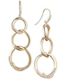 Carolee Gold-Tone Pavé Triple Link Linear Drop Earrings