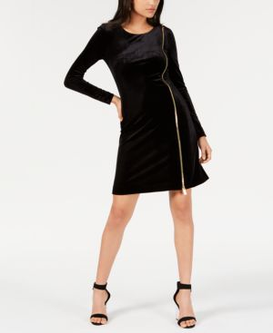 FRENCH CONNECTION Zella Aurore Velvet Jersey Sheath Dress in Black/Gold