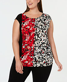Calvin Klein Plus Size Mixed-Print Top