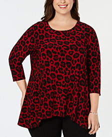 Anne Klein Plus Size Animal-Print Top