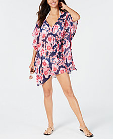 DKNY Floral-Print Chiffon Caftan Cover-Up