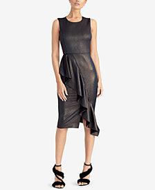 RACHEL Rachel Roy Metallic Ruffle Scuba Dress