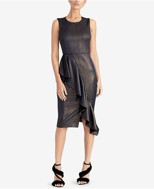 Rachel Roy Discount Gowns: RACHEL Rachel Roy Metallic Ruffle Scuba Dress & Reviews