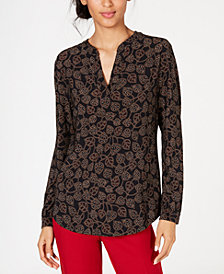 Anne Klein Printed Split-Neck Tunic Top