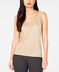Anne Klein Metallic-Threaded Sleeveless Sweater