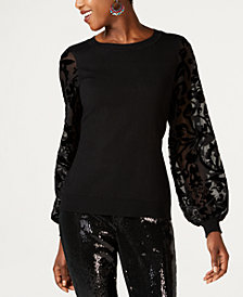 I.N.C. Velvet Burnout-Sleeve Sweater, Created for Macy's