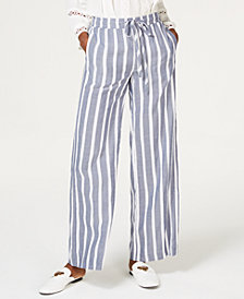I.N.C. Soft Striped Wide-Leg Pants, Created for Macy's