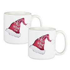 Cathys Concepts Oh What Fun Santa Hat Large Coffee Mugs, Set of 2