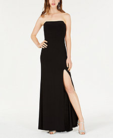 Blondie Nites Juniors' Strapless Side-Slit Gown