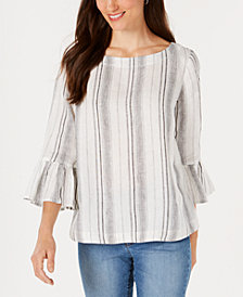 Charter Club Linen Striped Bell-Sleeve Top, Created for Macy's