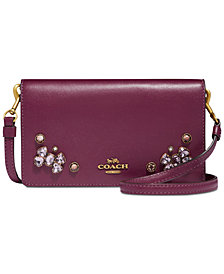 COACH Crystal Appliqué Slim Phone Crossbody in Refined Leather
