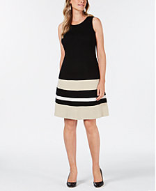 Charter Club Petite Knit Colorblocked Dress, Created for Macy's