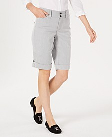 Petite Striped Tummy Control Bermuda Shorts, Created for Macy's