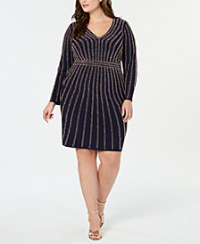 XSCAPE Plus Size Long-Sleeve Embellished Bodycon Dress