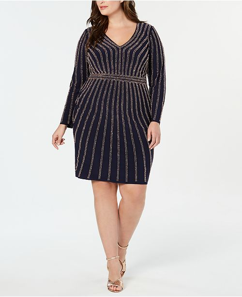 XSCAPE Plus Size Long-Sleeve Embellished Bodycon Dress ...