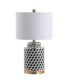 """Ellie 24.5"""" Tumbling Block Ceramic,Metal LED Table Lamp"""